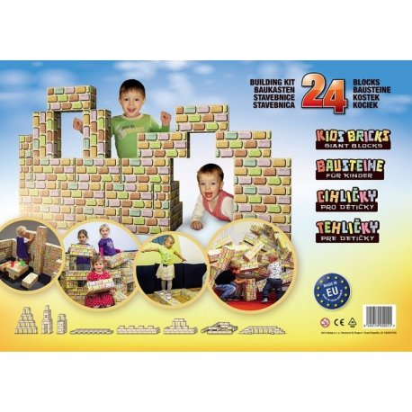 Cihličky - velká dětská stavebnice - 24ks