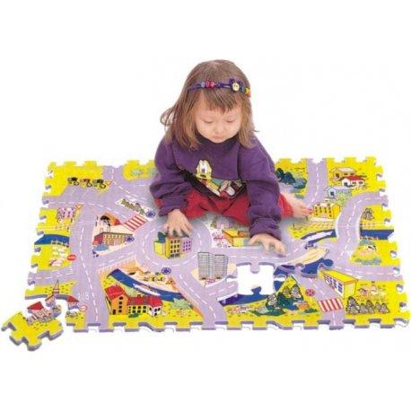 Město silnice pěnové puzzle podložka 54ks